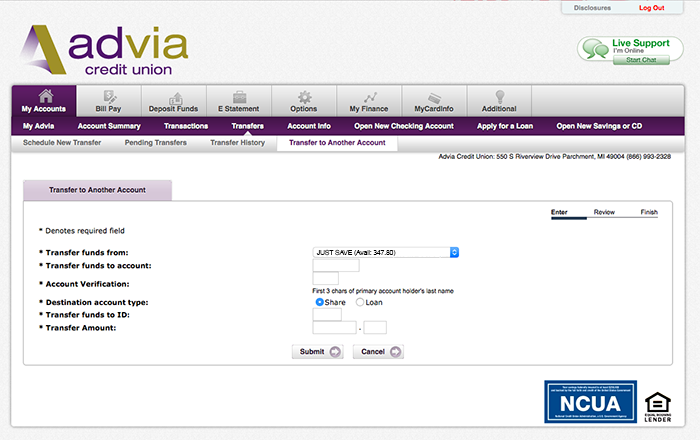 Step by Step Guide to making transfers to another Advia CU Member Account