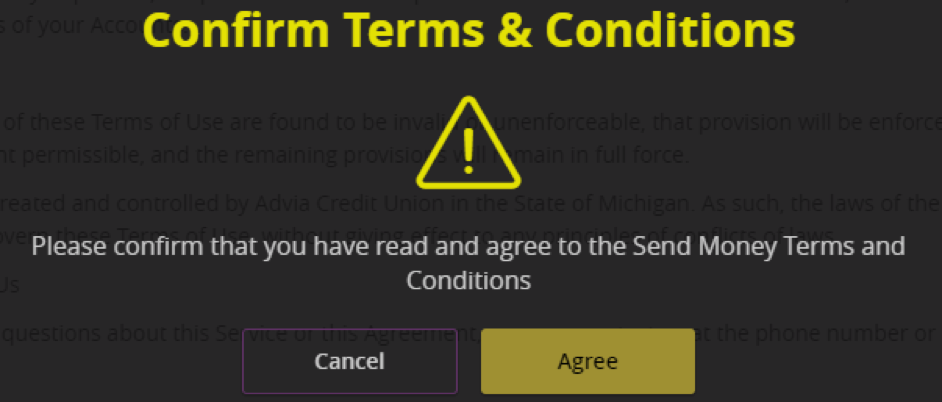 Confirm term and conditions.