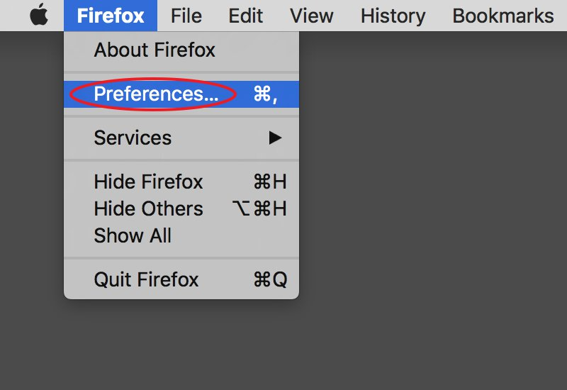 Step 2: Click select Preferences