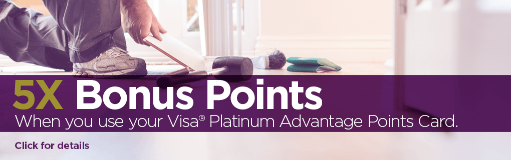 Get 5x Bonus Points when you use your Visa® Platinum Advantage Points Card on select purchases.