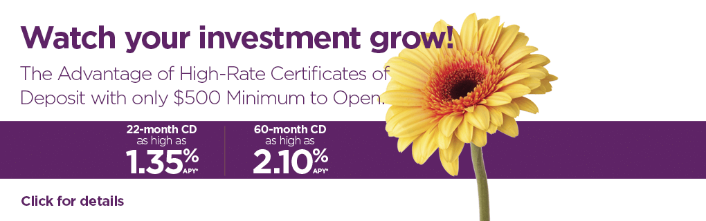 Watch your investment grow! The Advantage of High-Rate Certificates of Deposit with only $500 Minimum to Open.